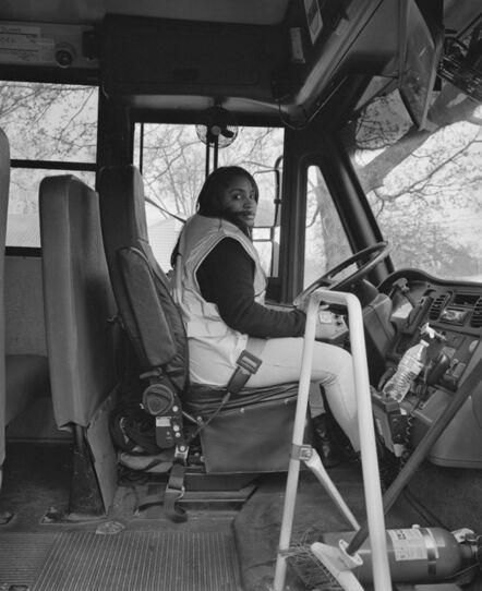 LaToya Ruby Frazier, 'Shea at Work Driving Bus 38, Route 45, for Flint Community Schools Transportation, First Student Inc. Flint, Michigan', 2016-2017