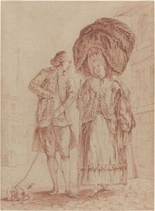 Pierre Thomas Le Clerc, 'A Cleric Accompanying a Lady on Her Morning Walk', 1778/80