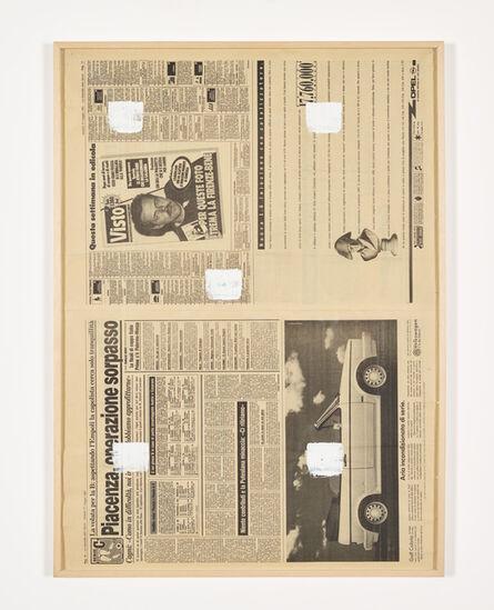 Niele Toroni, 'Empreintes de pinceau n°50 à intervalles régulières (30cm), journal Italien', 1991