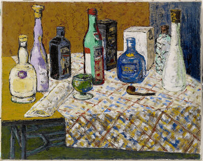 Cheng Chung-chuan, 'Wine Bottles on the Table', 1969