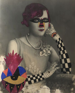 Leobardo Huerta, 'Checkered Arm Lady, Framed Vintage photograph intervened by the artist with acrylic paint and pen and ink ', 2019