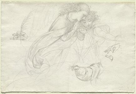 Johann Evangelist Scheffer von Leonhardshoff, 'Two Grieving Angels (verso)', 1821