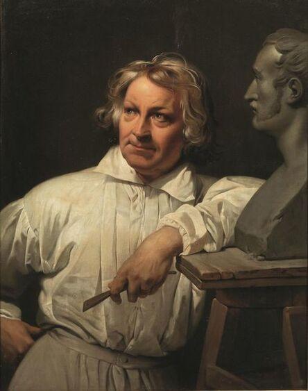 Horace Vernet, 'Portrait of Berthe Thorwaldsen with Horace Vernet's Bust', 1833