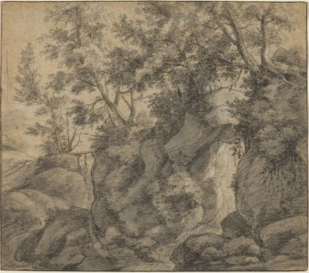 Anthonie Waterloo, 'Landscape with a Wooded Ravine'