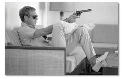 John Dominis, 'Steve McQueen & his gun, Palm Springs', 1963