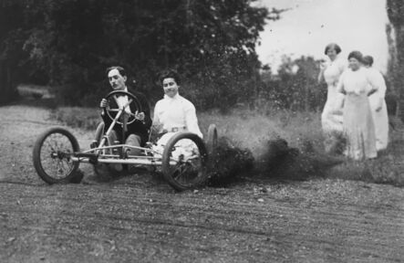 Jacques-Henri Lartigue, 'Bobsled race - Zissou and Madeleine Thibault in the bobsled, Mme. Folletête,Tatane & Maman Rouzat, September 20', 1911