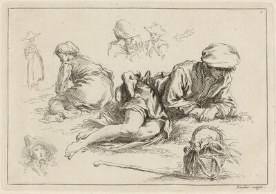 François Boucher after Abraham Bloemaert, 'Figure Studies including Reclining Boy', published 1735
