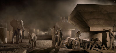 Nick Brandt, 'Bridge Construction with Elephants & Workers at Night ', 2018