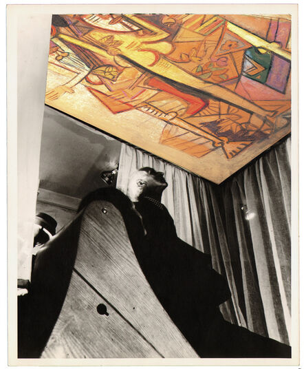 Wifredo Lam, 'Contemporary photomontage of exhibition viewBloodflames 1947. Max Ernst and Dorothea Tanning in front of Wifredo Lam'sLe présent éternel, 1944 (The eternal presence) recreated withWifredo Lam's,La Réunion, 1(Groupe),1942.'