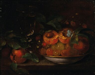 George Forster, 'Still Life with Peaches and Blue Butterfly'