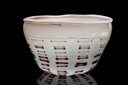 Dale Chihuly, 'Beige Tabac Basket with Oxblood Stripes', 1977