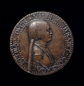 Adriano Fiorentino, 'Elisabetta Gonzaga, died 1526, Duchess of Urbino, Wife of Guidobaldo I 1489 [obverse]', probably after 1502