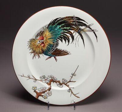 "Vieillard & Cie, '""Japanese Cock"" dinner plate', ca. 1880"
