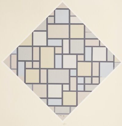 Piet Mondrian, 'Composition with Grid, No 5 – with Pale Colours. 1919.', 1957