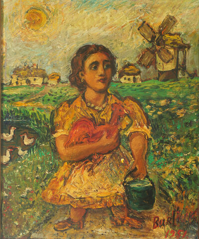 David Burliuk, 'Woman with Rooster', 1951