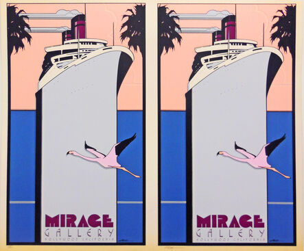 Patrick Nagel, 'Mirage Gallery, Hollywood, CA. (Ship) - Rare Double Print Edition', 1977