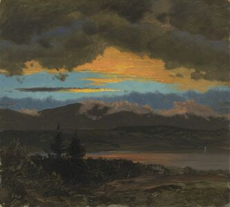 Frederic Edwin Church, 'Sunset across the Hudson Valley, New York', 1870