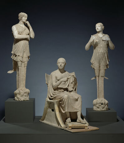 'Sculptural Group of a Seated Poet and Sirens (2) with unjoined fragmentary curls (304)', 350 -300 BCE