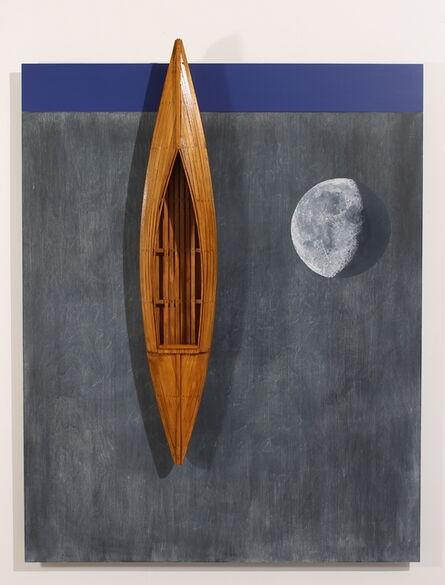 David Ruddell, 'Blackboard with Moon/Blue Strip/Fir Boat', 2020