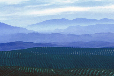 Larry Garmezy, 'Looking Toward Granada - Silhouetted mountain photography, Impressionist landscape, manipulated image in purple evening glow, Southern Spain, with green fields', 2007