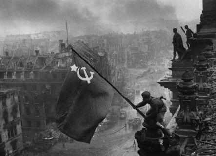 Yevgeny Khaldei, 'Rasing a flag over the Reichstag', 1945
