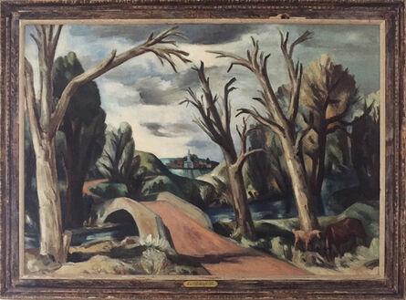 "Bror Julius Olsson Nordfeldt, '""Bridge across Stream""', 1930s"