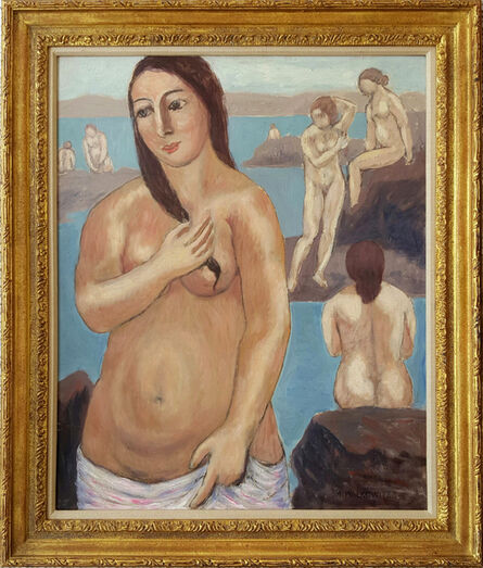 Abraham Walkowitz, 'Nude with Pink Towel ', ca. 1920