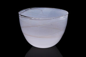 Dale Chihuly, 'Dale Chihuly 1979 White Bowl with Thin Beige Threads Signed Contemporary  Handblown Glass Art ', 1979