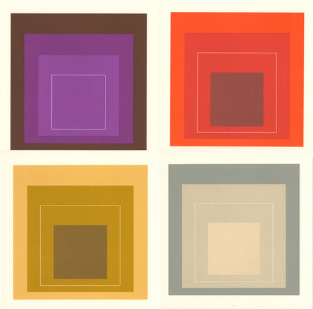 Josef Albers, 'Josef Albers White Line Squares (set of 4 announcements)', 1967