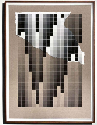Analía Saban, 'Transcending Pigment from Paint to Canvas, from Canvas to Paint (Black and White) No. IV', 2020