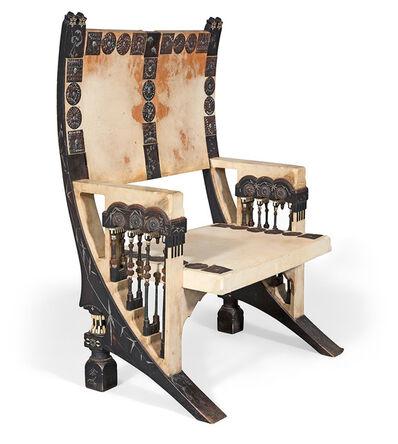 Carlo Bugatti, 'Carlo Bugatti Parchment, Ebonized Wood, Copper, Pewter and Inlaid Bone Armchair'