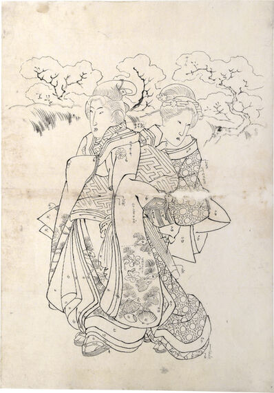 Utagawa Kuniyoshi, 'Preparatory Drawing related to right sheet of triptych 'Modern Choices'', ca. 1829