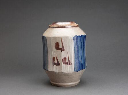 Shinsaku Hamada, 'Faceted vase, salt glaze with hake decoration'