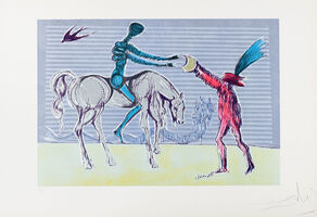 "Salvador Dalí, '""Don Quixote: The Gift of Mandrino"" Hand Signed Salvador Dali Lithograph', 1941-1957"