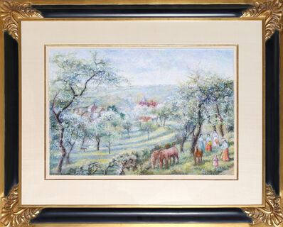 Hugues Claude Pissarro, 'French Landscape with Horses and Ladies', ca. 1980