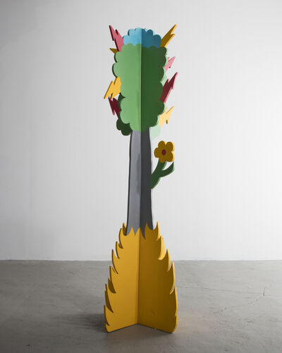 Lapo Binazzi, 'Plywood coat tree with a gray trunk and colored enamel-painted top. Designed and produced by Lapo Binazzi for Laboratorio Casa ANAS, Florence, Italy, 1975.', 1975