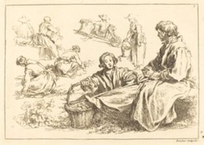 François Boucher after Abraham Bloemaert, 'Figure Studies including Two Seated Peasants', published 1735