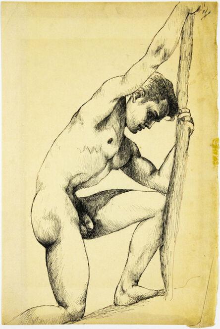 John S Barrington, 'On One Knee', Ink on paper