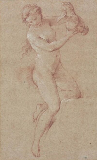 Attributed to Charles-Joseph Natoire, 'A nude woman holding an ewer (study for Hebe)'