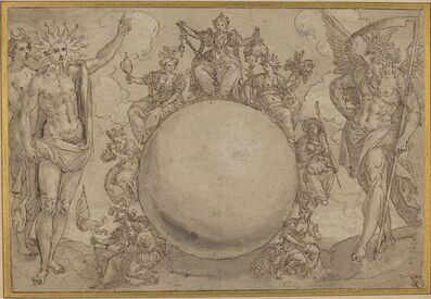 Maarten de Vos, 'Apollo, Diana, and Time with the Cyclic Vicissitudes of Human Life', ca. 1561