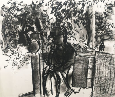 Peter Bonner, 'Sippewissett Road Cyclist and Barrier', 2013
