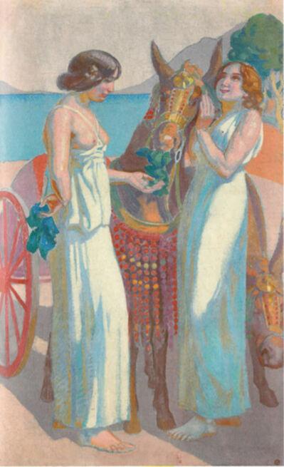Maurice Denis, 'Jeux de Nausicaa : deux femmes près d'une mule harnachée', 1914