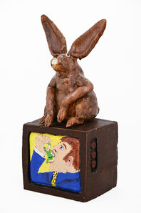 David Gilhooly, 'TV Set with Rabbit Ears: Chicago art critic forced to swallow a frog', 1977