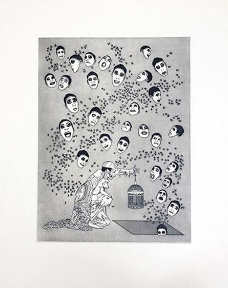 Raqib Shaw, 'Fireflies and Faces', 2019