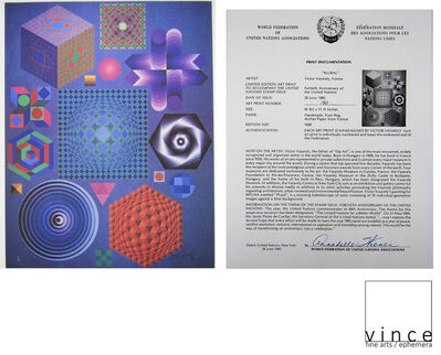 """Victor Vasarely, '""""PLURAL"""", 1985, Artist Signed/Numbered Edition 190/1000, Printed by The World Federation United Nations ', 1985"""
