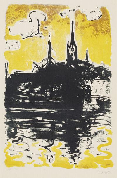 Emil Nolde, 'Church and Boat, Sonderburg', 1907/1915