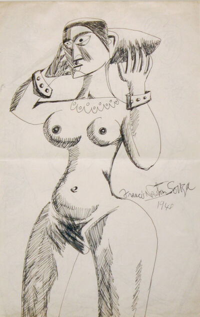 Francis Newton Souza, 'Untitled (Standing Nude with Bracelets 1)', 1948