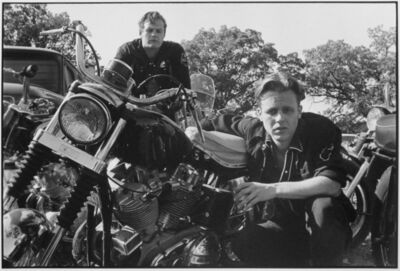 Danny Lyon, 'Brucie, his CH, and Crazy Charlie, McHenry, Illinois, The Bikeriders Portfolio', 1966