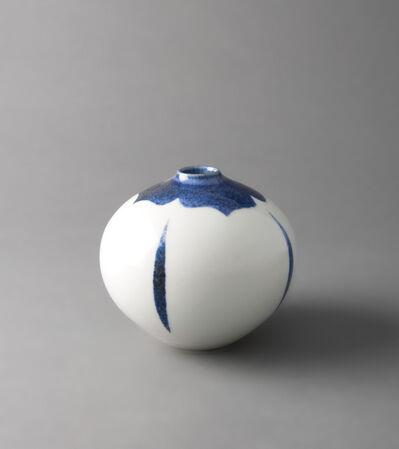 Fance Franck, 'Round vase, clear decor and kaki in underglaze blue glaze'