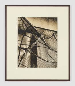 João Penalva, 'Scenic prop. Bird catcher's cage. Cloth-wrapped PVC structure with cotton and polyester thread net. ', 2019